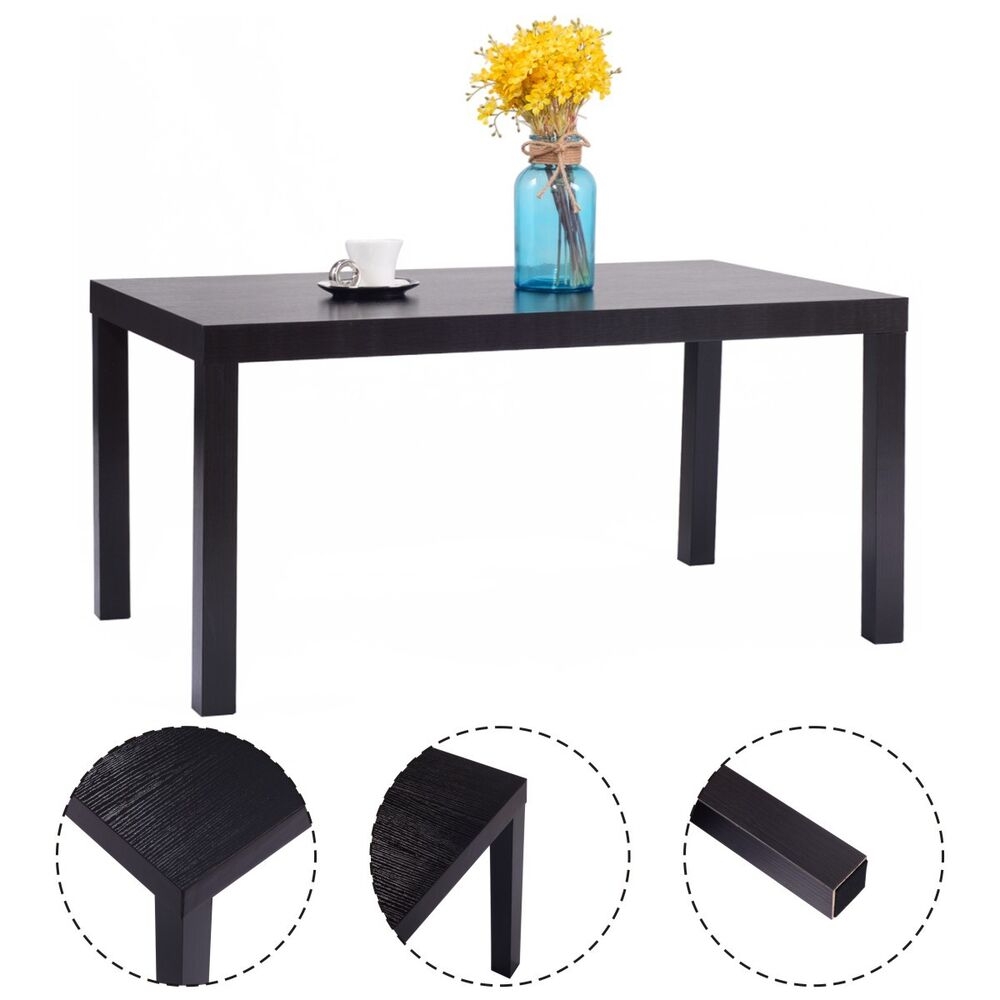 Rectangular Wood Coffee End Table Modern Living Room