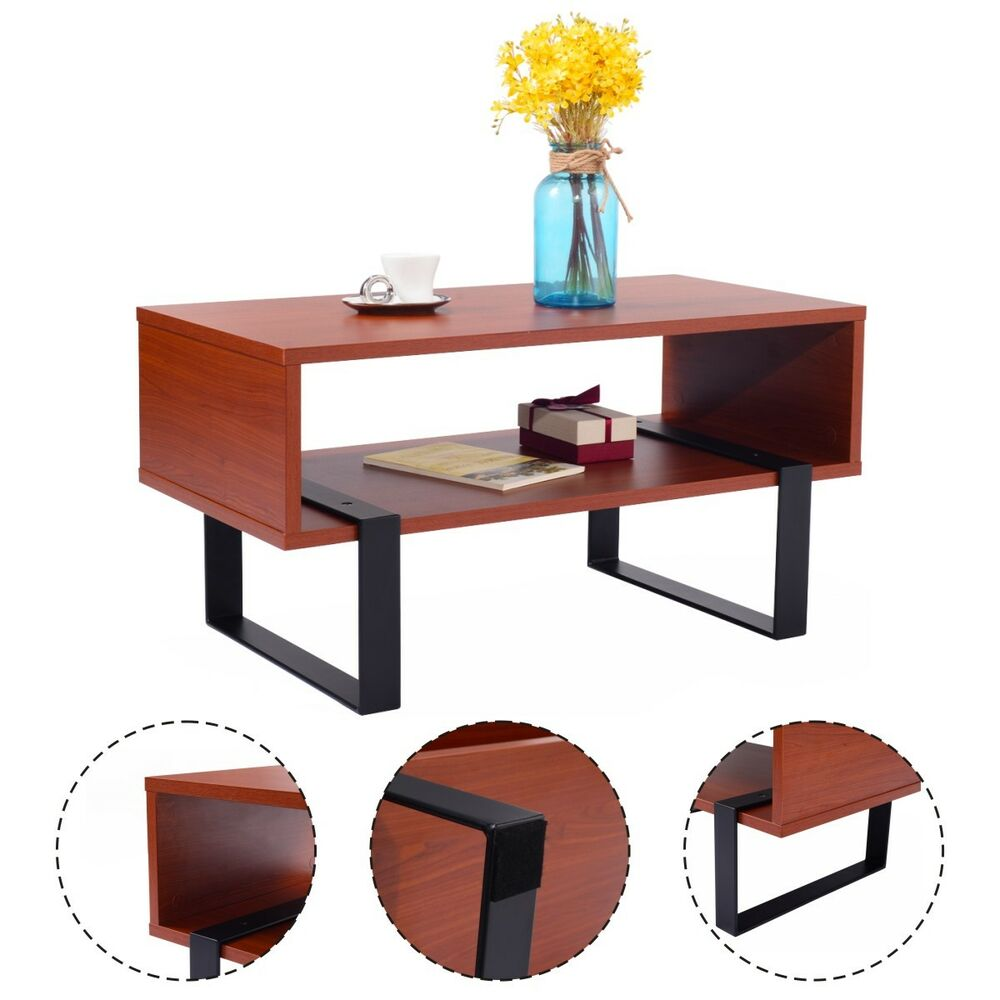 Living Room Wood Tables: Coffee End Table Wood And Metal Modern Living Room