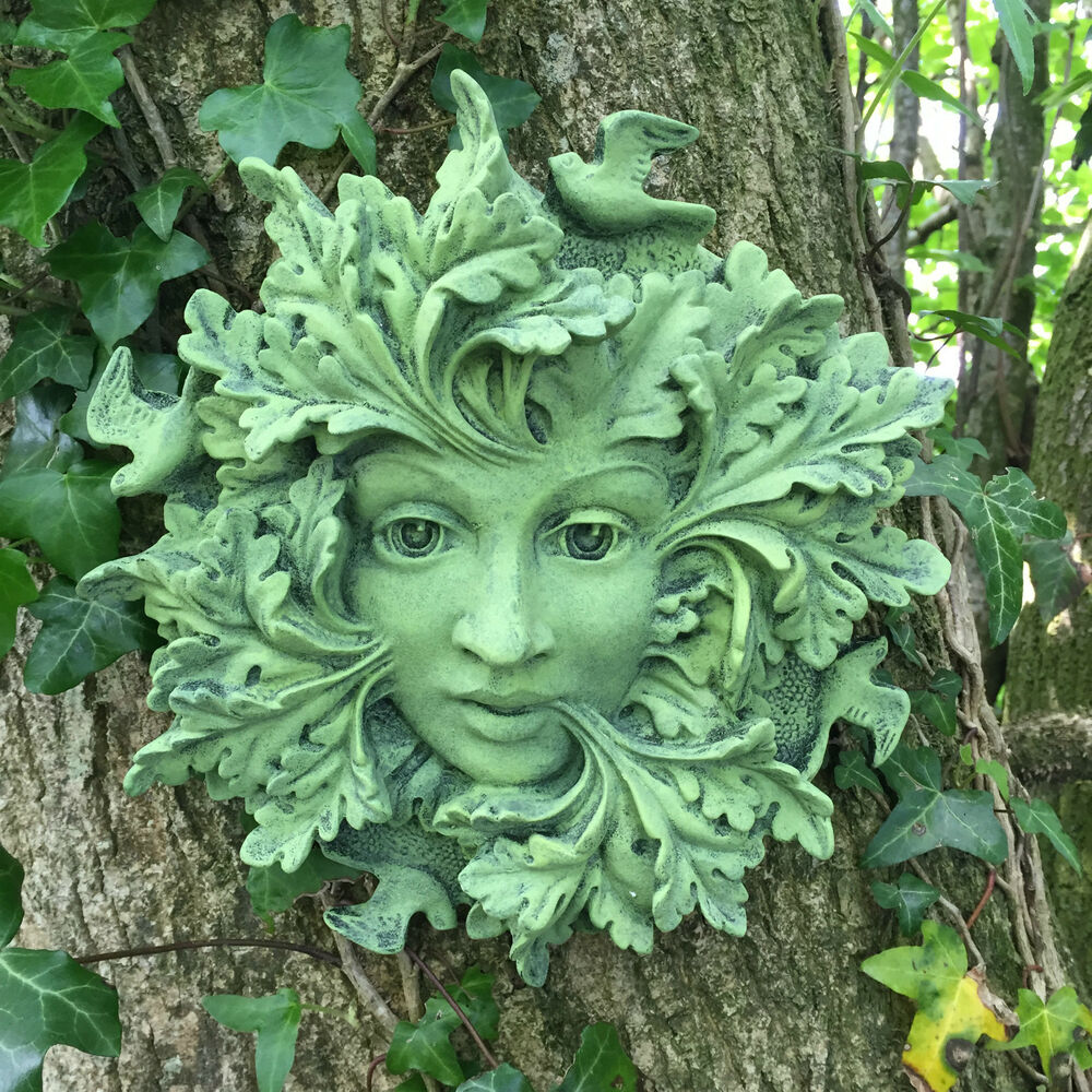 Celtic Greenman Armband: LARGE Green Spirit Greenman Garden Gift Wall Plaque