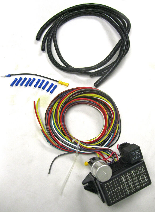 New Universal 8 Circuit Wire Wiring Harness Street Rat Hot Rod Basic Starter Kit