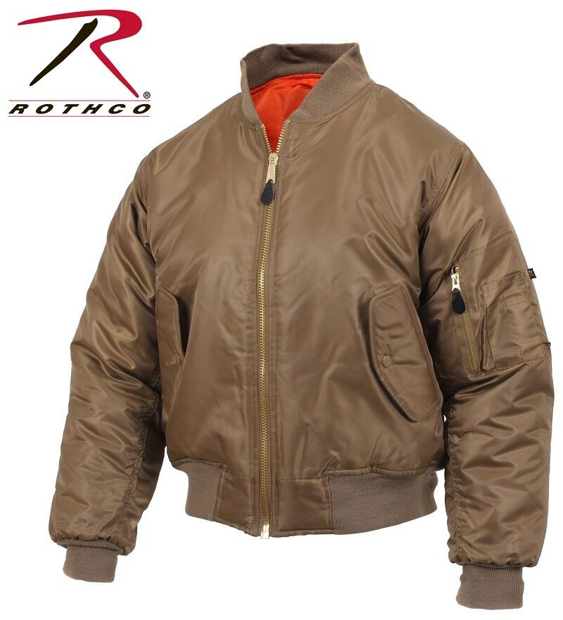 ddf433ecb834 Flight Jacket Coyote Brown MA1 Military Style MA-1 Reversible Bomber Coat  7544
