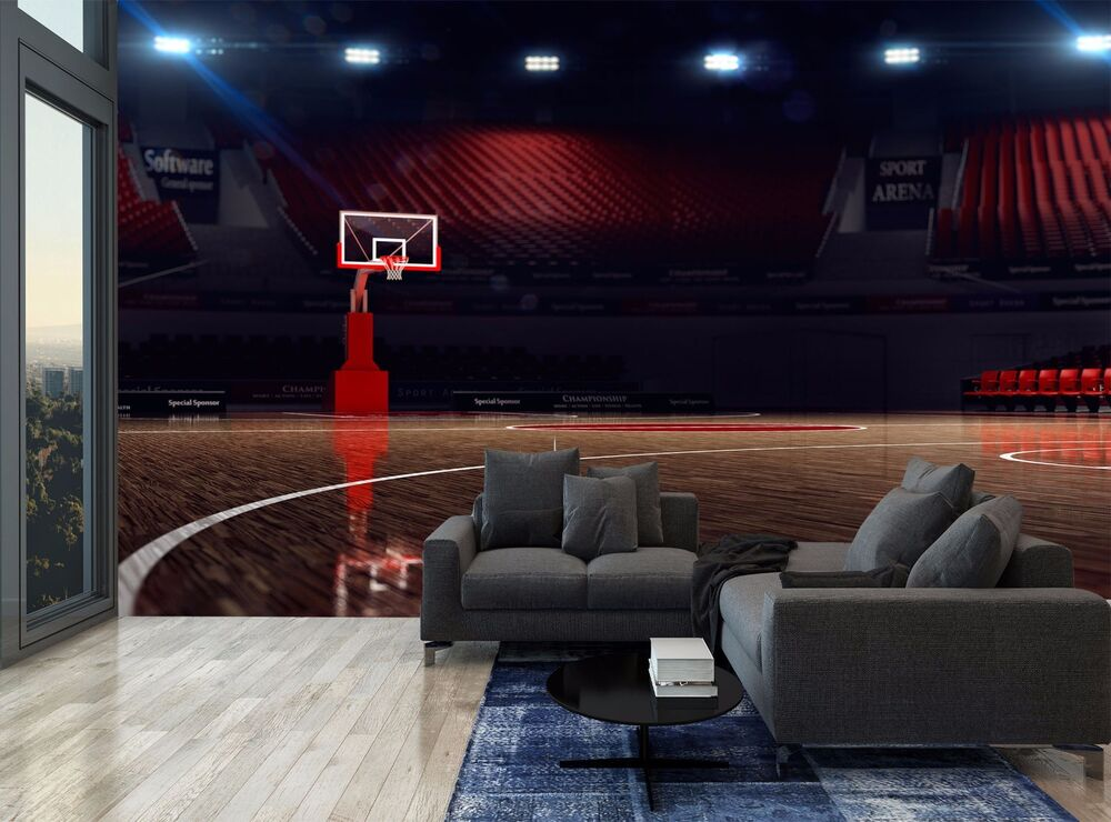 Basketball arena lights sport photo wallpaper wall mural for Basketball mural wallpaper