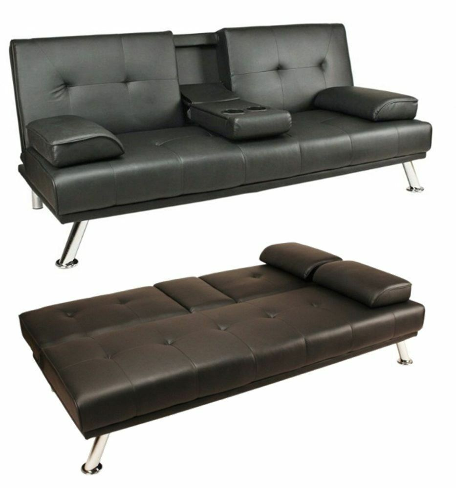 Black modern faux leather sofa bed double click clack for Sofa bed 3 2