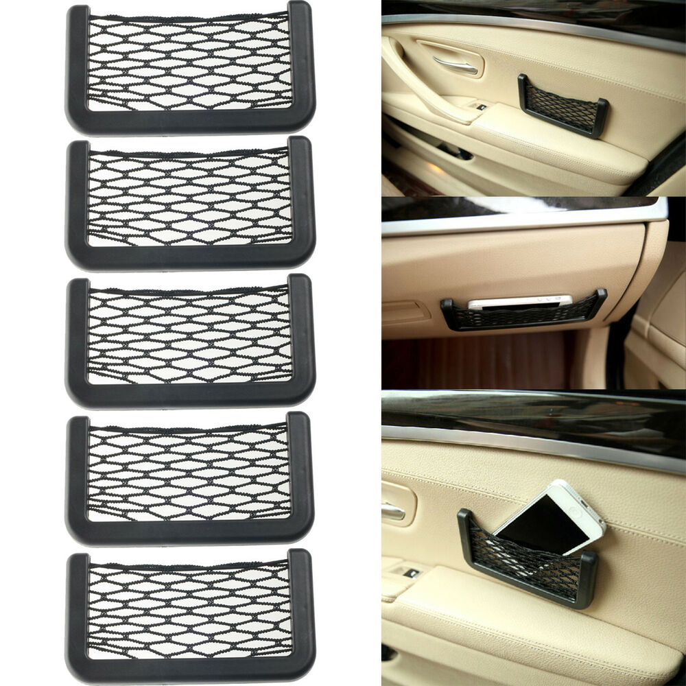 5pcs universal car seat side back storage net bag phone holder pocket organizer ebay. Black Bedroom Furniture Sets. Home Design Ideas