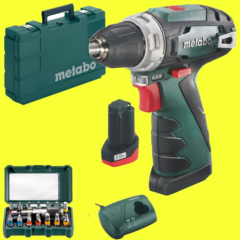 metabo akkuschrauber powermaxx bs basic 10 8 v 1x 2 0ah akku bitset 15 tlg ebay. Black Bedroom Furniture Sets. Home Design Ideas
