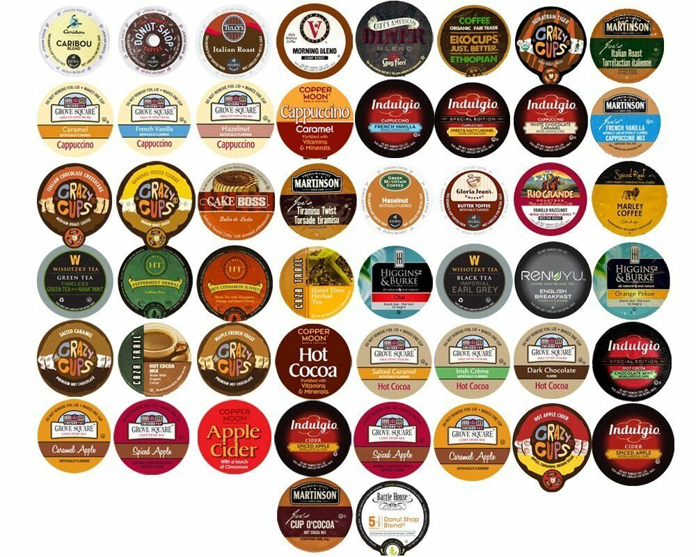 40 K Cups Variety Pack Coffee Tea Cider Hot Chocolate