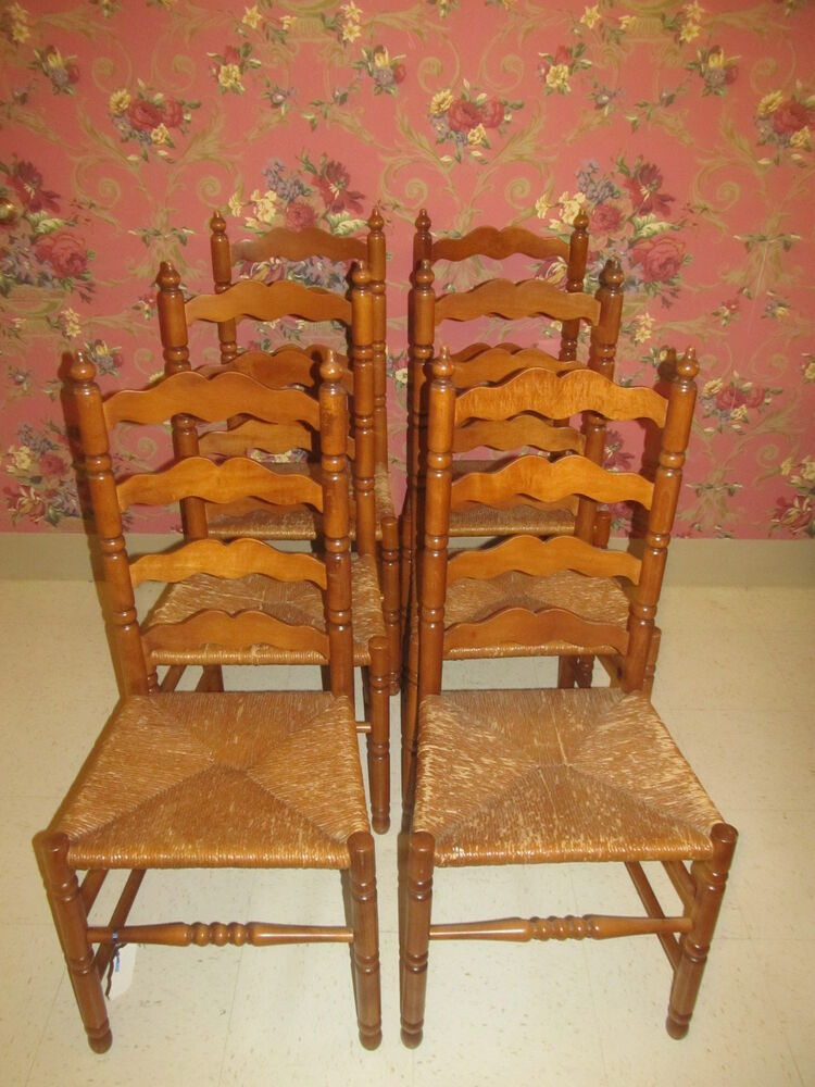 Tell City Set Of 6 Ladderback Side Chairs Andover Maple