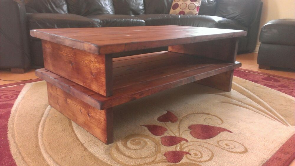 Handmade Bespoke Extra Large Wooden Rustic Chunky Pine Or Oak Coffee Table Ebay
