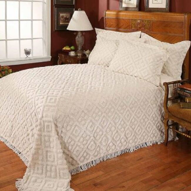 cotton chenille bedspread tufted coverlet white ivory twin full queen king sizes ebay. Black Bedroom Furniture Sets. Home Design Ideas