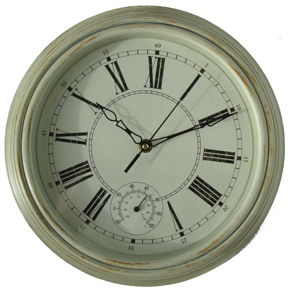 Vintage style shabby chic cream thermometer wall clock for Lampe style shabby chic