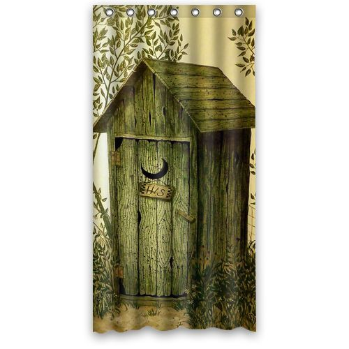 Custom Shower Curtain Outhouse Wooden House Waterproof