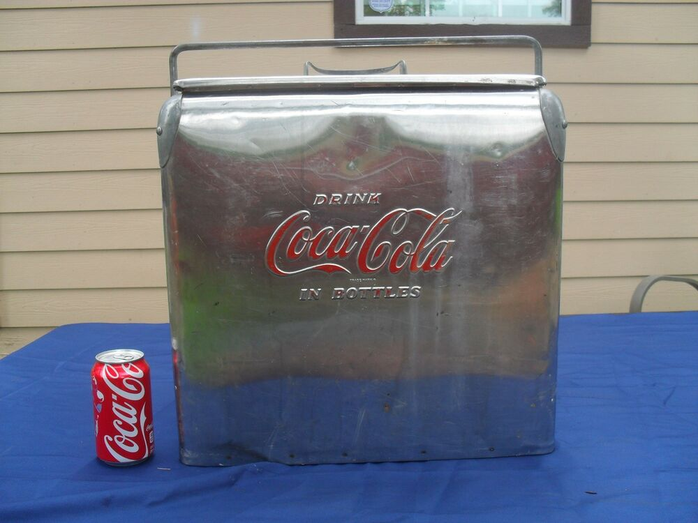 Vintage embossed coca cola stainless steel cooler chest for 1 door retro coke cooler