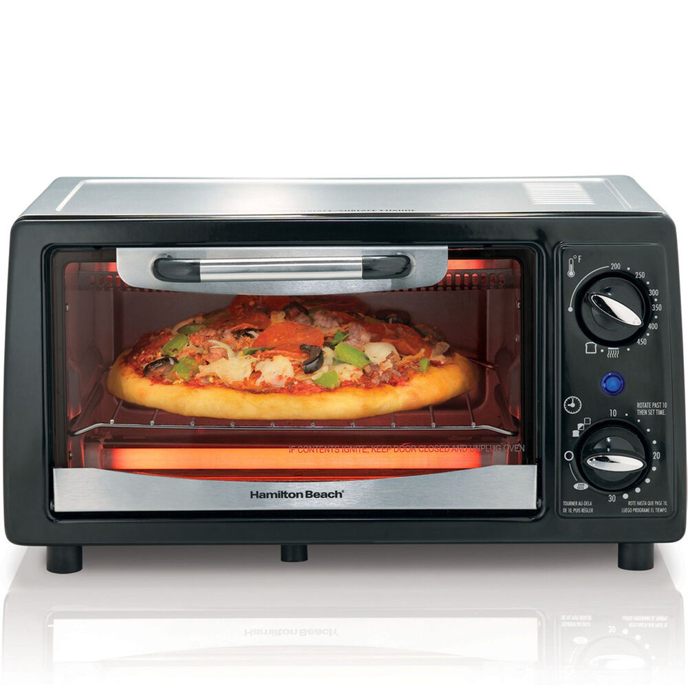 Hamilton Beach 4-Slice Toaster Oven Broiler, Countertop Pizza Oven ...