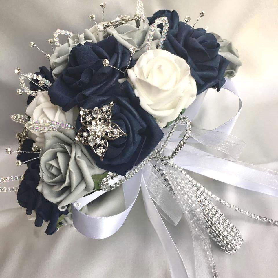 Dark Blue Flowers For Wedding Bouquets: BRIDES POSY BOUQUET, NAVY BLUE, WHITE & GREY ROSES