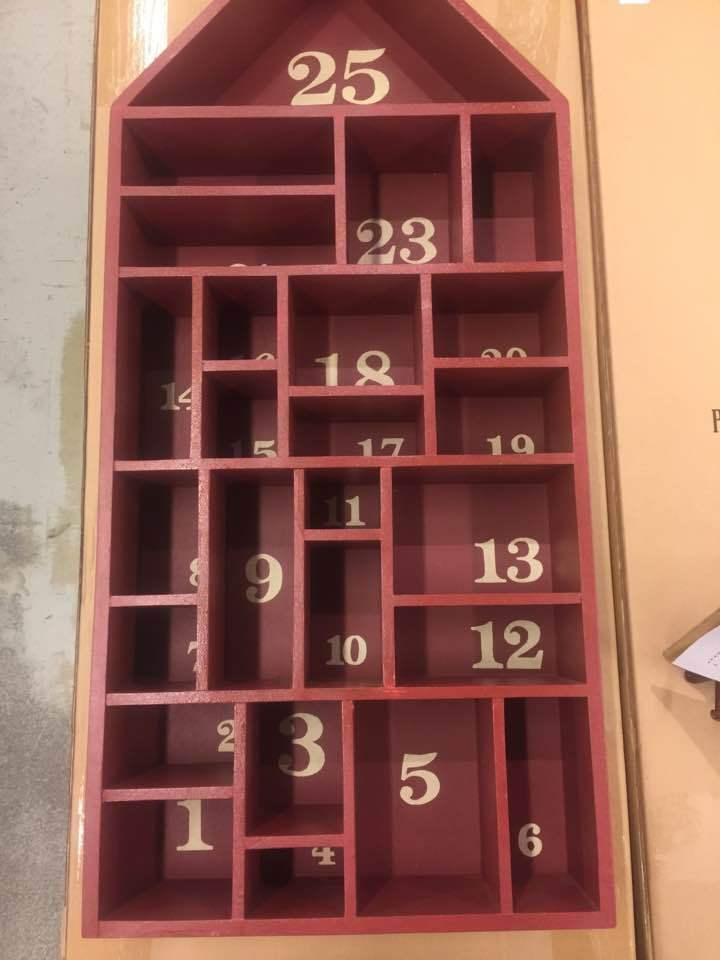 pottery barn red painted wood house christmas advent