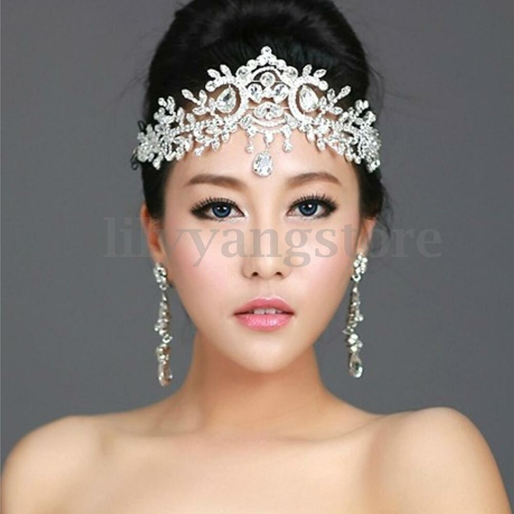 Wedding Silver Bridal Tiara Rhinestone Crystal Crown