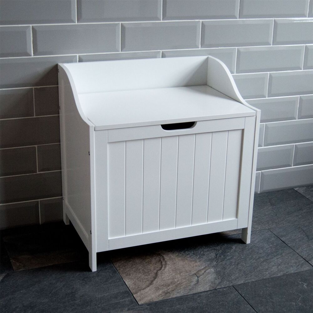 Priano Bathroom Laundry Cabinet Storage Bin Chest Basket Box Furniture White Ebay