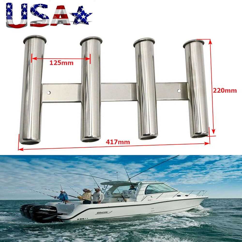 4 Rod Rack 316 Stainless Steel Rod Holder For Boat Fishing
