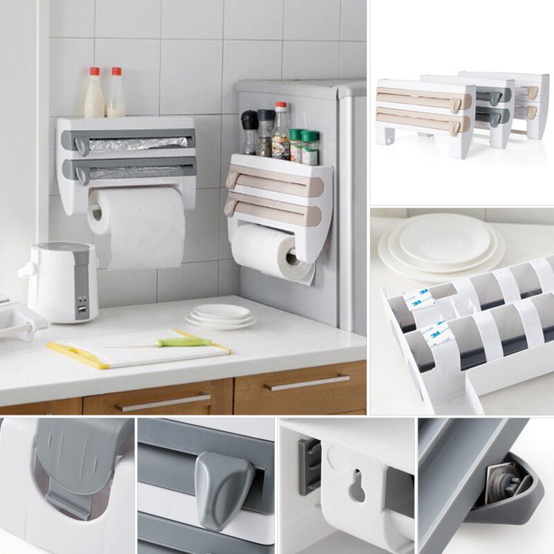 wall mounted roll holder paper towel kitchen plastic rack foil wrap dispenser ebay. Black Bedroom Furniture Sets. Home Design Ideas