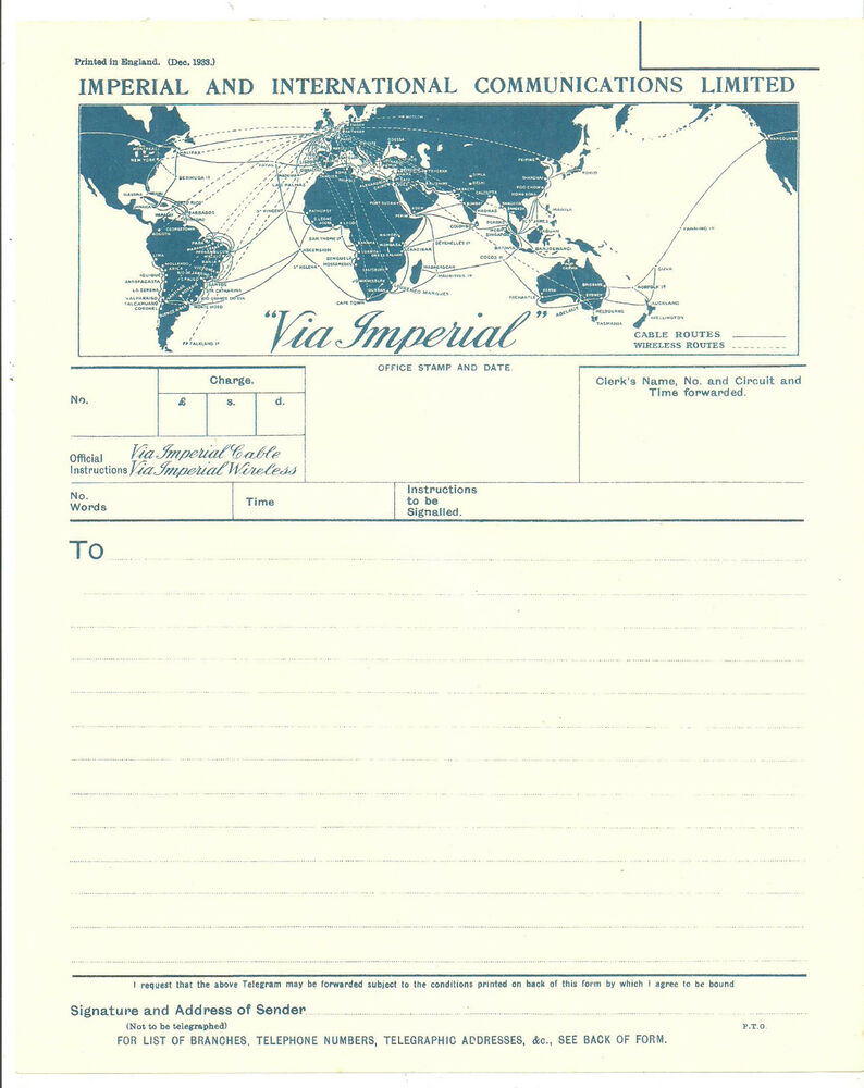 World Map 1933.Imperial And International Communications Limited Blue Telegram 1933