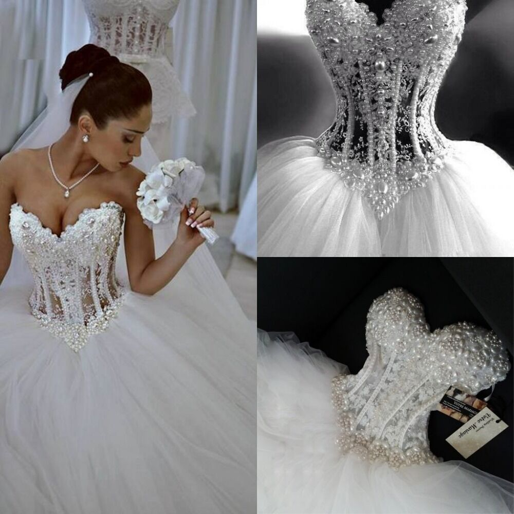 Sparkly Ball Gown Corset Wedding Dress Pearls Sweetheart