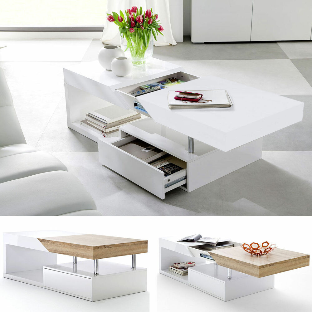 Modern Oval White High Gloss Glossy Lacquer Coffee Table: ModaNuvo Modern White Gloss & Oak Extending Storage Coffee