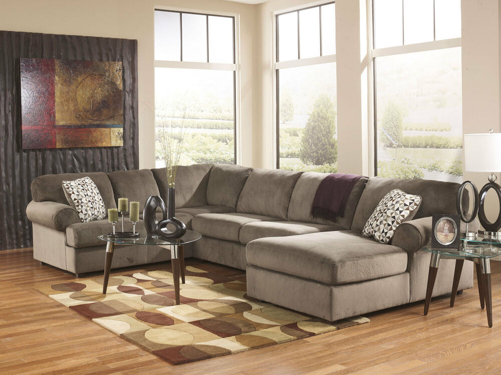 LAKESIDE Modern Brown Microfiber Living Room Sofa Couch Chaise Sectional Se