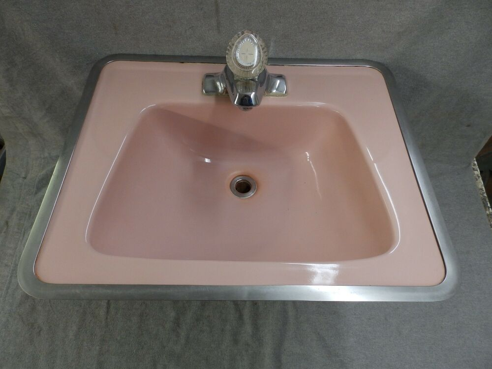 Vtg Ceramic Pink Porcelain Drop In Lavatory Sink Mid