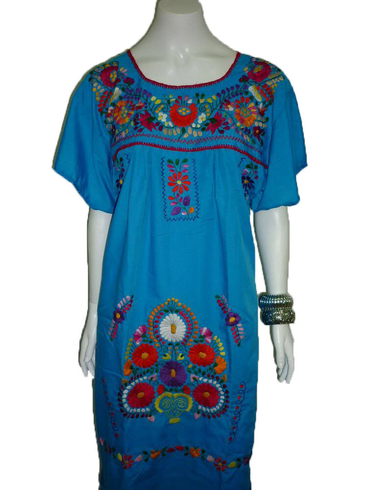 Aqua vintage style hand embroidered tunic mexican dress