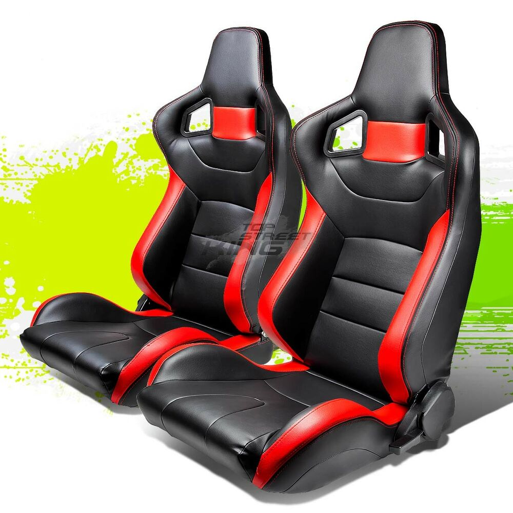 reclining black red stripe pvc leather bucket racing seats sliders rail pair ebay. Black Bedroom Furniture Sets. Home Design Ideas