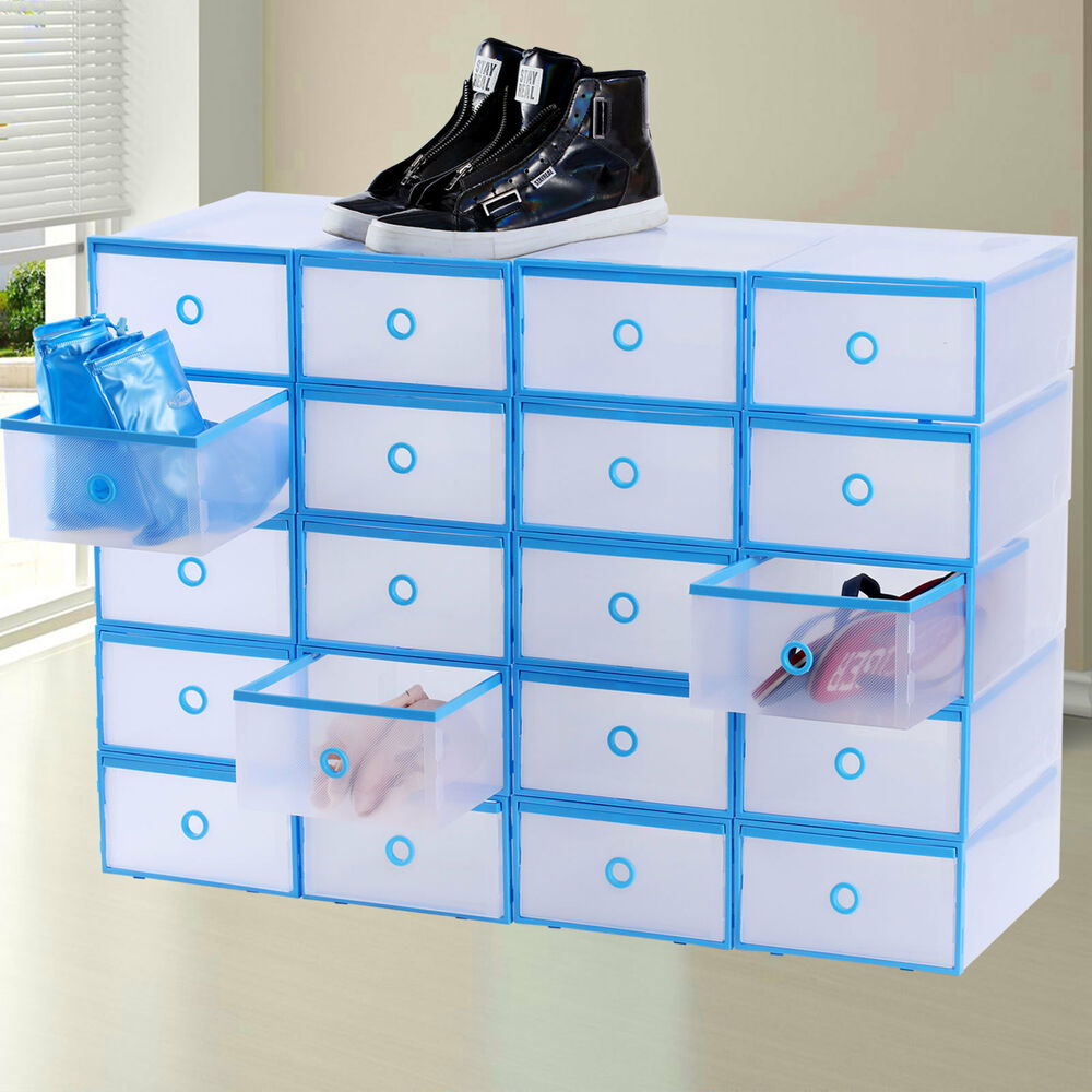 20x drawer shoe storage box plastic stackable clear - Stackable 20desk 20organizer ...