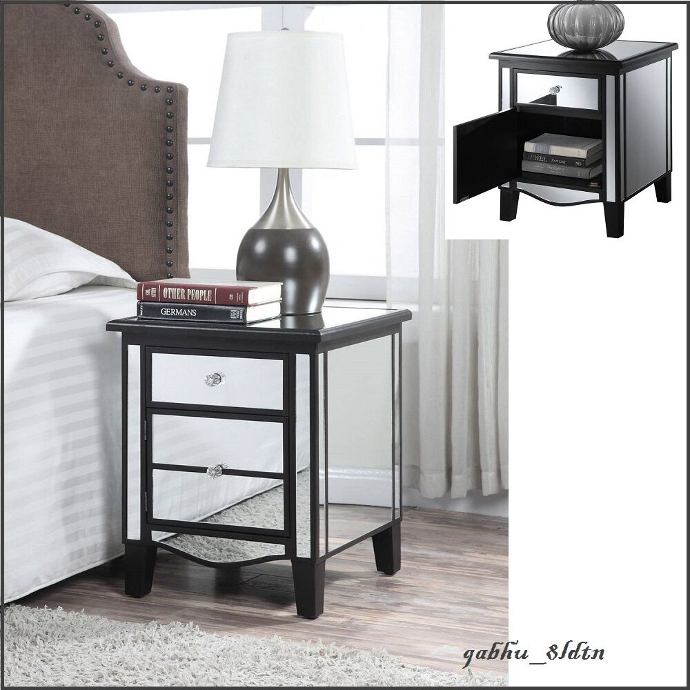 Black Mirrored Accent Table Modern Cabinet Nightstand