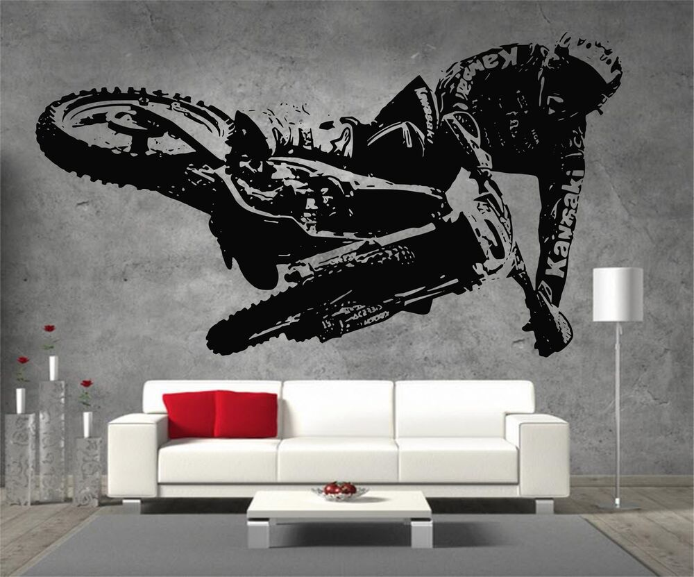 Motocross kawasaki motorbike vinyl sticker wall art boys for Dirt bike wall mural