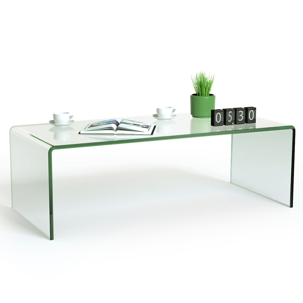 Tempered glass coffee table accent cocktail side table for Glass living room table