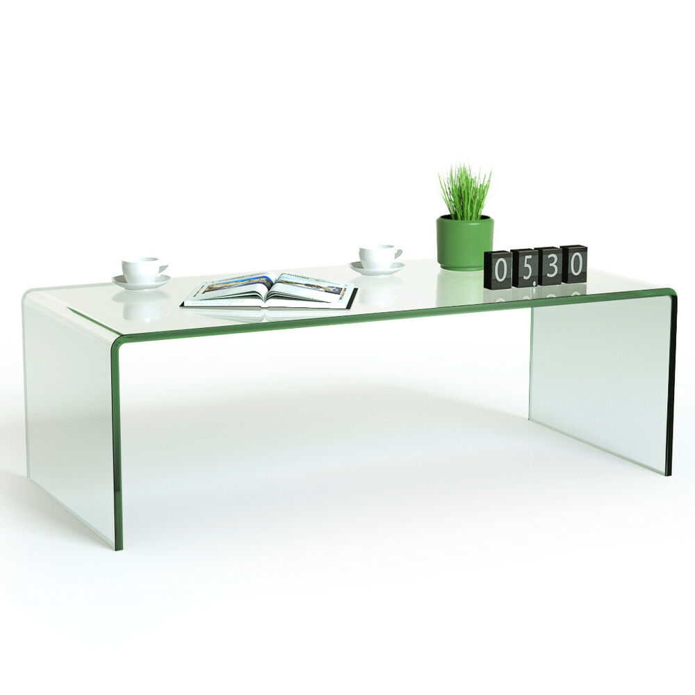 Tempered glass coffee table accent cocktail side table for Glass living room furniture