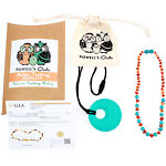 """Baltic Amber Necklace GIFT SET - Teeth Pain Relief (Turquoise/Cognac - 12.5"""")"""