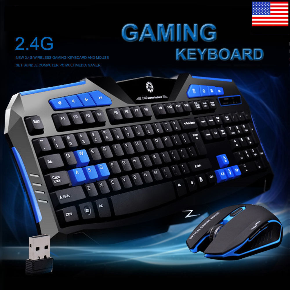 2 4g wireless gaming keyboard and mouse set kit for computer pc multimedia gamer ebay. Black Bedroom Furniture Sets. Home Design Ideas