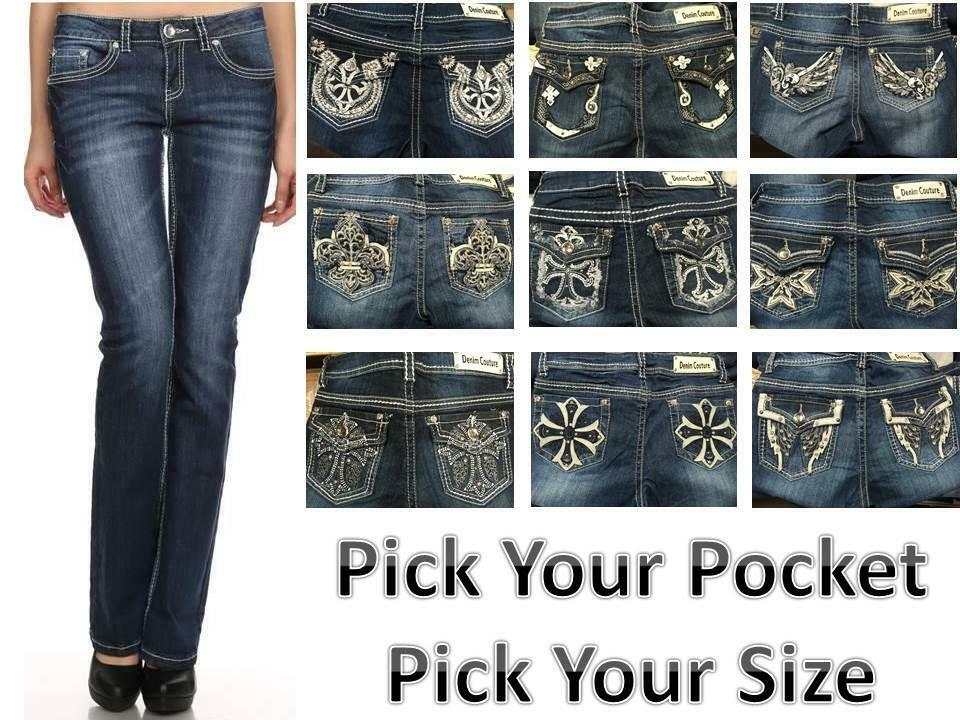 Ladies Jeans Bling Boot Cut Designer Rhinestone Blingy Denim Couture | eBay