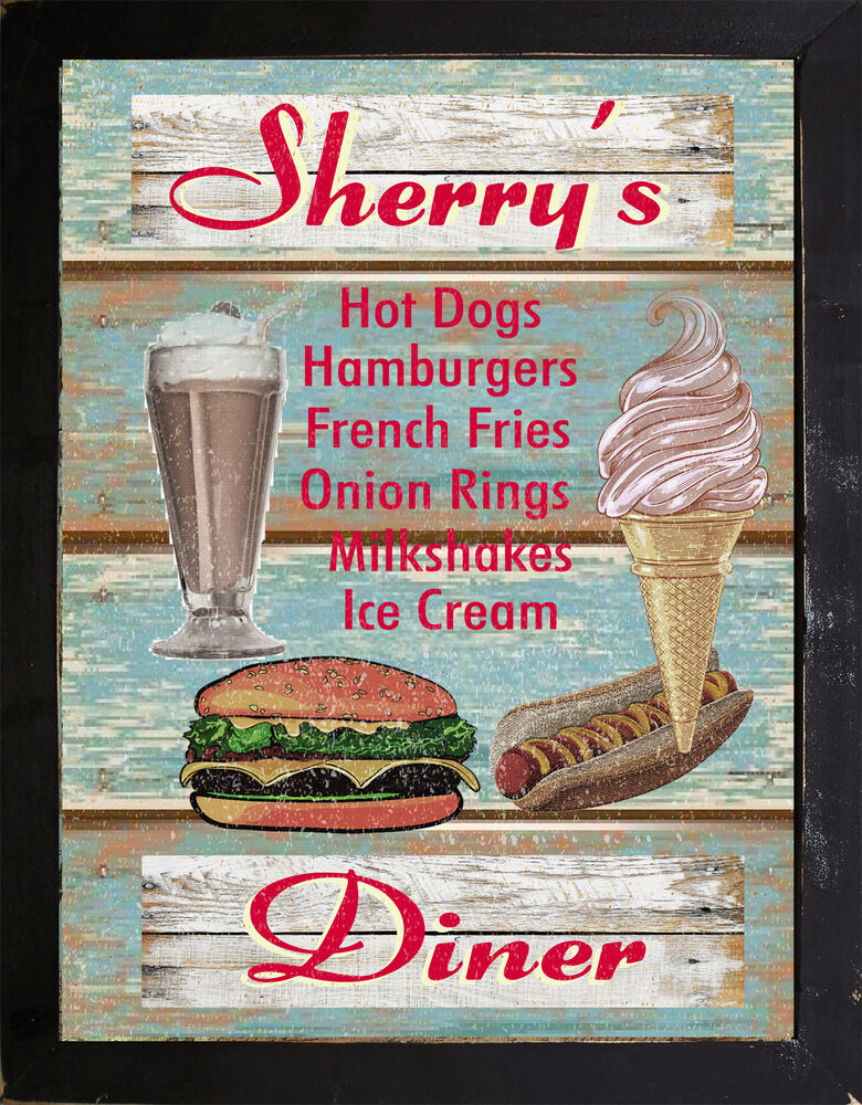Personalized vintage style home decor 50 39 s diner cafe for Diner home decor