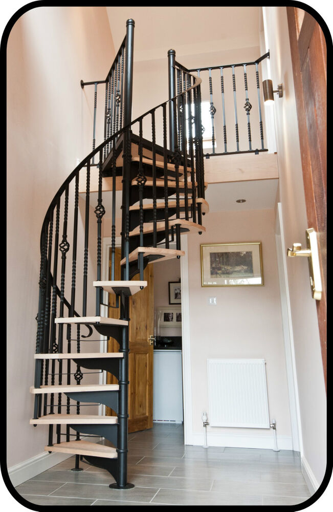 Traditional spiral stair in hardwood wrought iron - Spiral staircase wrought iron ...