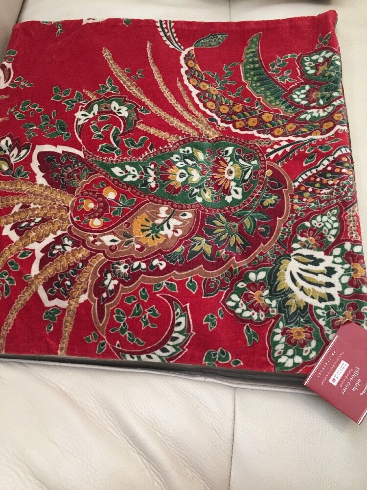 Pottery Barn Holiday Adela Velvet Paisley Pillow Cover 18