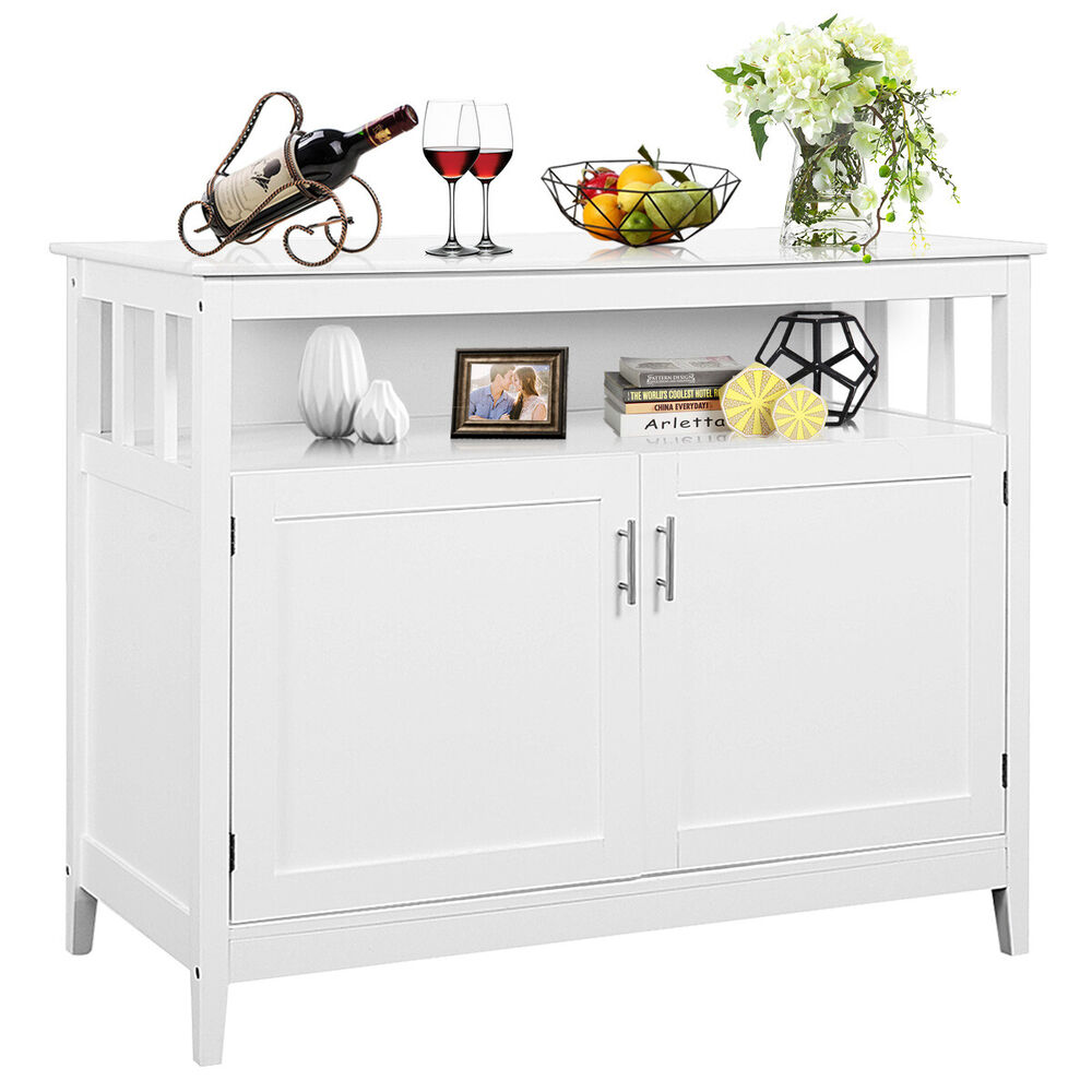 Details About Modern Kitchen Storage Cabinet Buffet Server Table Sideboard Dining Wood White