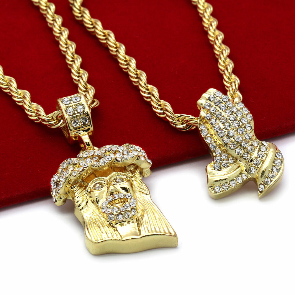 Men 39 s 14k gold plated high fashion 2 pcs jesus prayer for Is gold plated jewelry worth anything