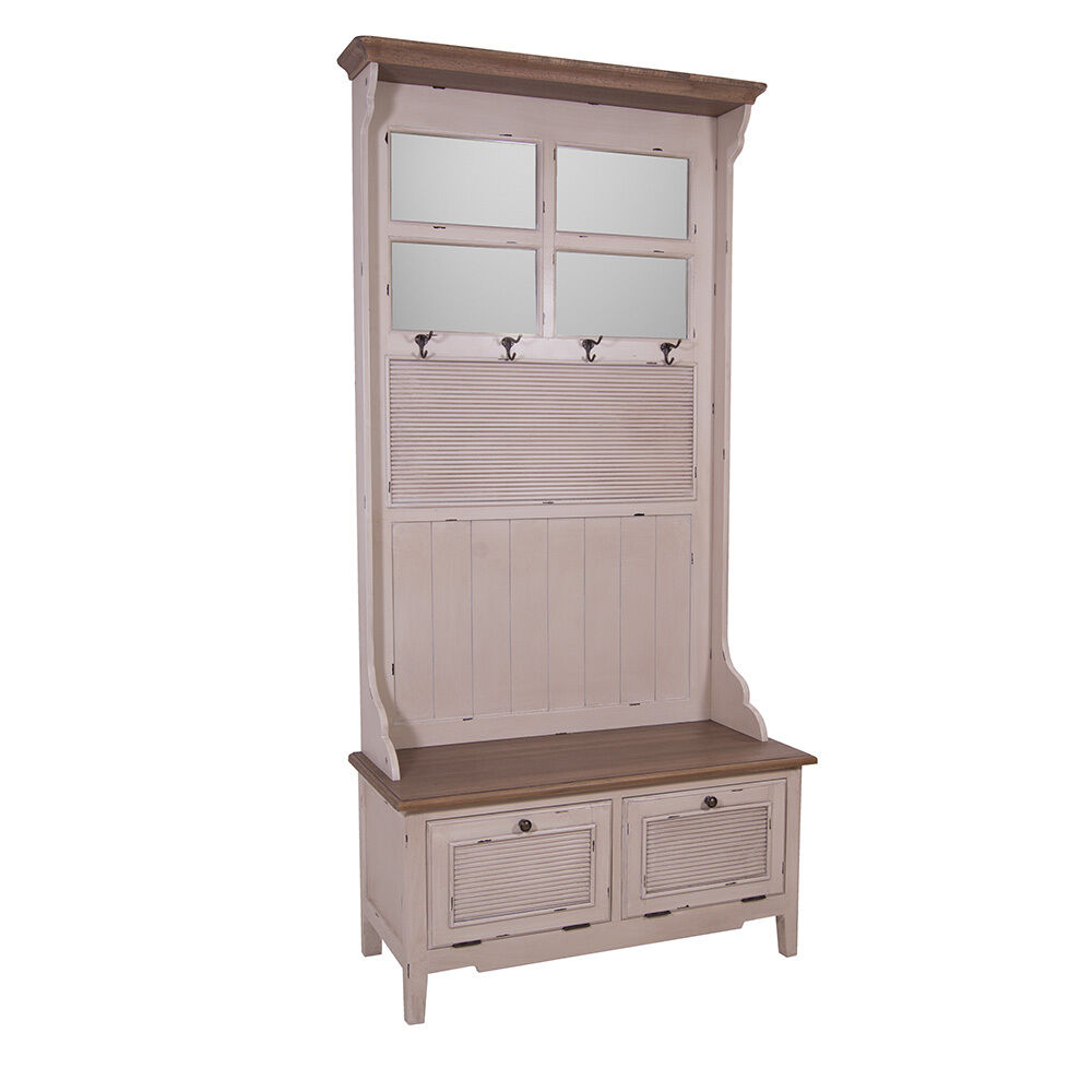 garderobenschrank bretagne flur garderobe kleiderhaken creme wei landhaus ebay. Black Bedroom Furniture Sets. Home Design Ideas