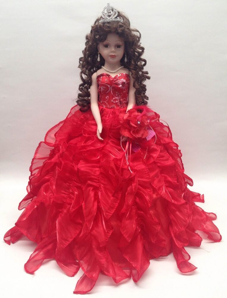 New Red 20 In 15 Xv Anos Quinceanera Ruffle Dress