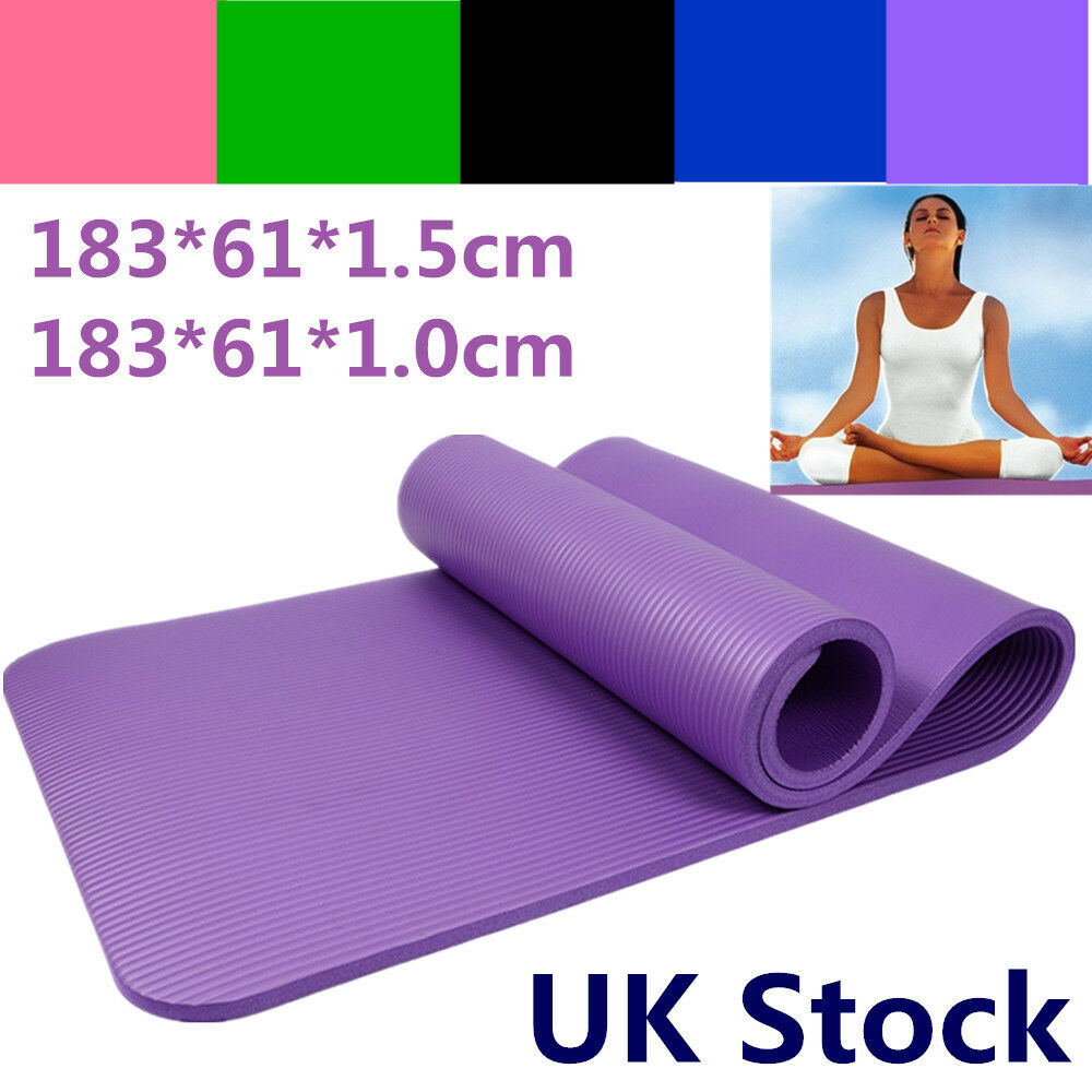 10/15mm Yoga Mat Exercise Fitness Pilates Physio Workout