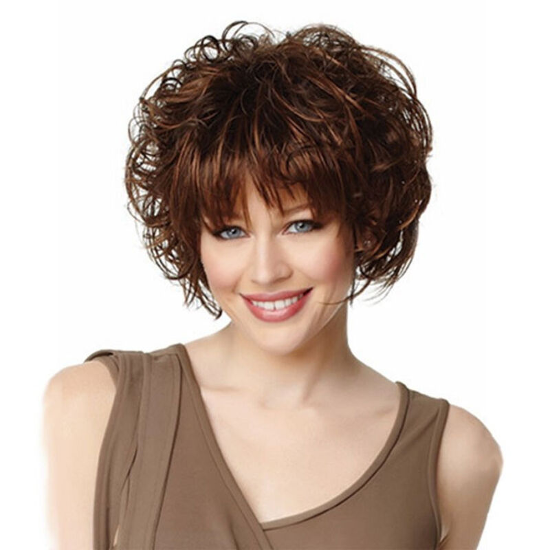 2016 Womens Short Full Hair Wig Curly Hair Shoulder Length