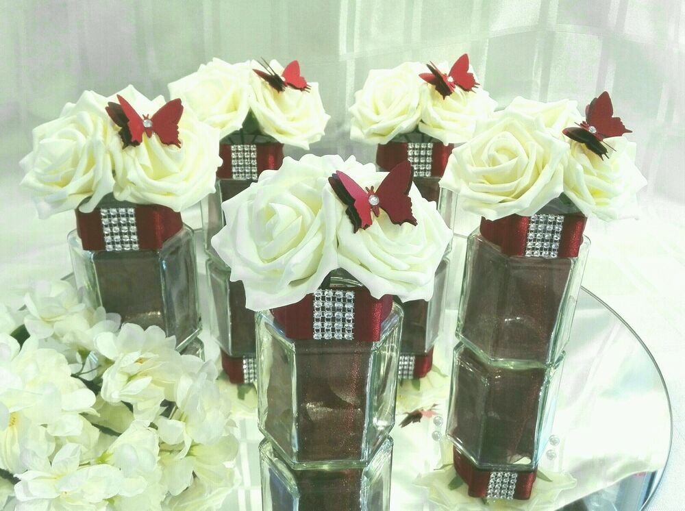 5 x burgundy and ivory hexagonal glass wedding centerpieces table decorations ebay - Burgundy and white wedding decorations ...