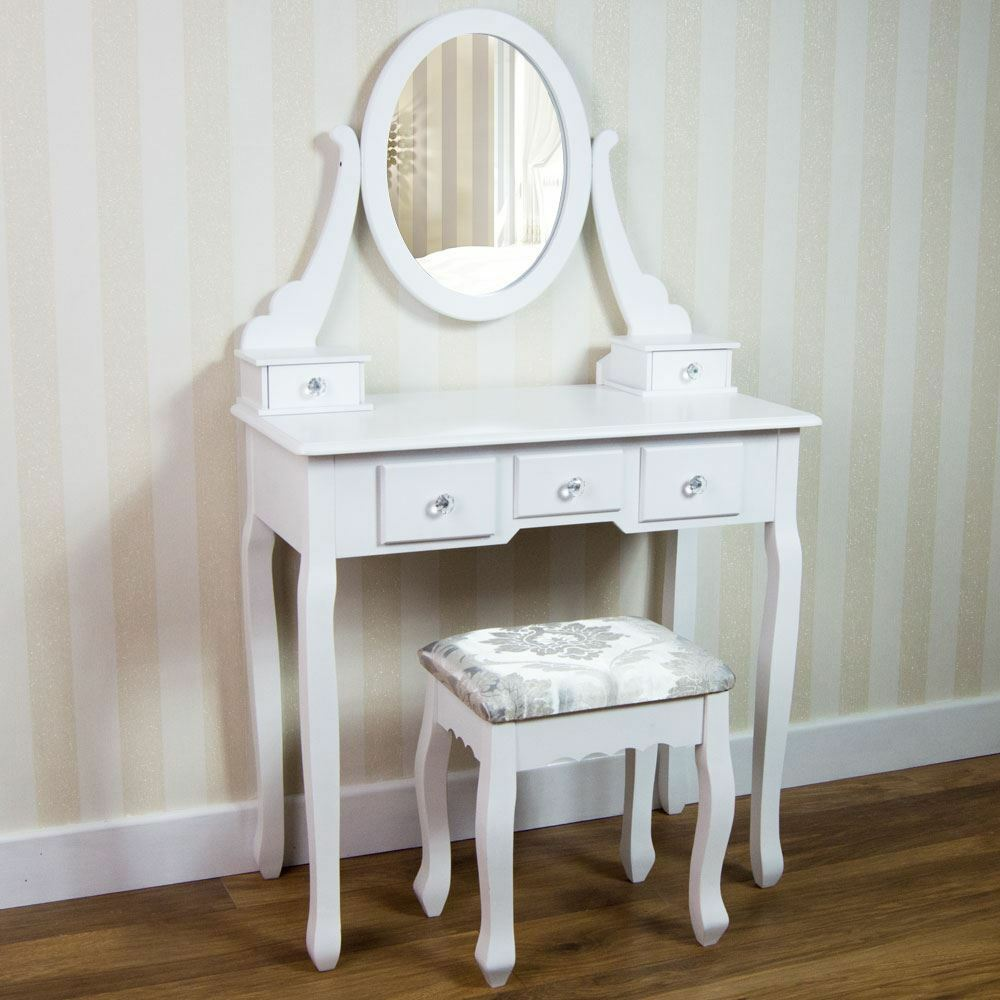 nishano dressing table 5 drawer stool white mirror bedroom. Black Bedroom Furniture Sets. Home Design Ideas
