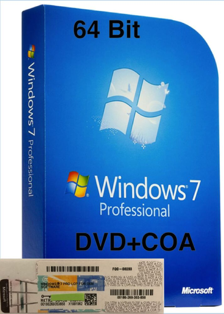 Windows 7 Pro Professional CoA License Key + DELL ...